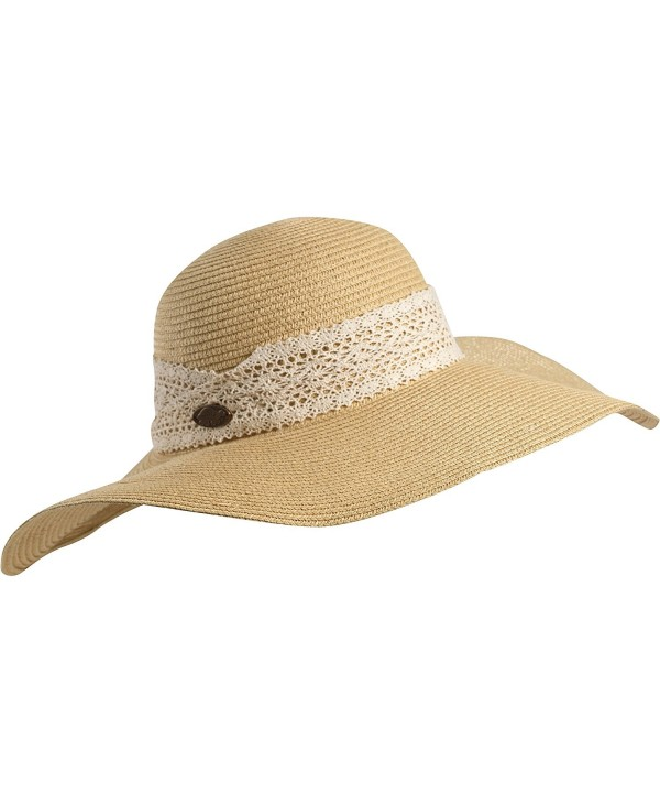 Turtle Fur Macie Women's Wide Floppy Brim Straw Sun Hat w/ Lace Trim Vermont Collection Sun Style - Natural - C211YXPEQAJ