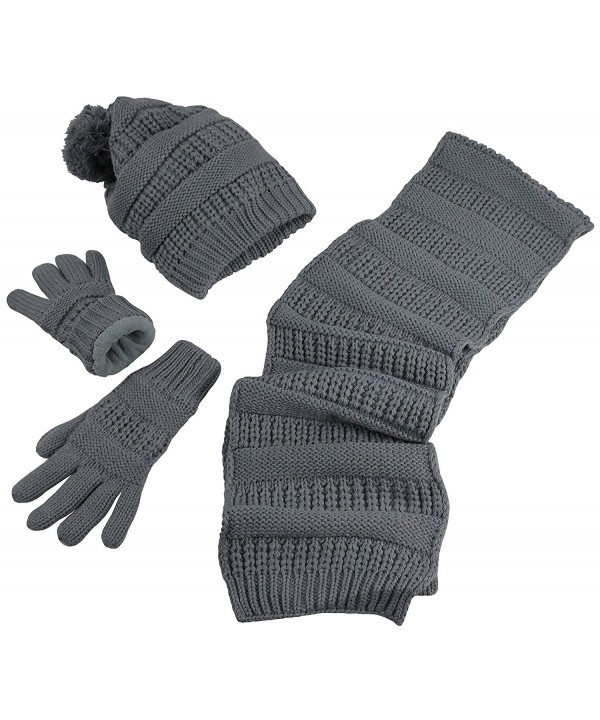 N'Ice Caps Women's Solid Cable Knit Hat/Scarf/Gloves Accessory Set - Gray - CA12KI2VV9Z