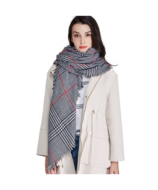 Blanket Scarf for Women Square Plaid Scarf Womens Winter Tartan Scarf Wrap Shawl - Black and White - CU188R75QSE