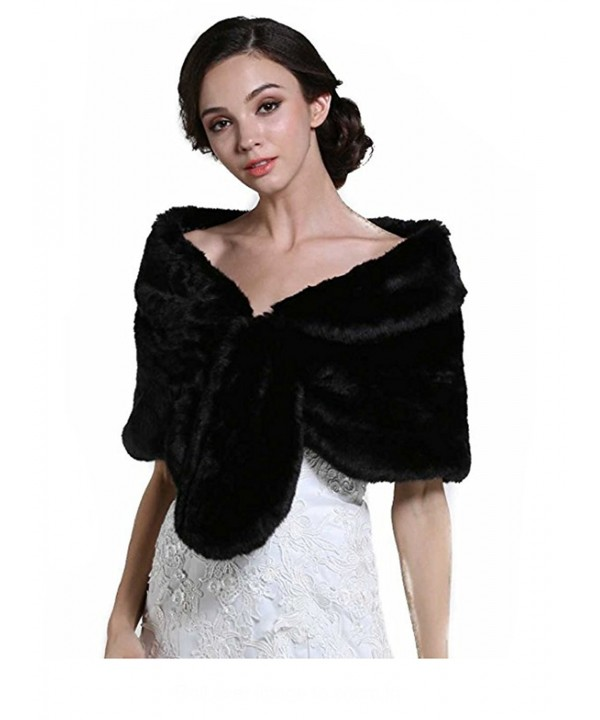 Aukmla Wedding Fur Wraps Shawls for Women with Clasps - Black - C6185THG0UG