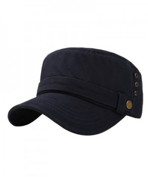 Men's Cotton Flat Top Peaked Baseball Twill Army Millitary Corps Hat Cap Visor - Navy-three Holes - CE1832NIRXD
