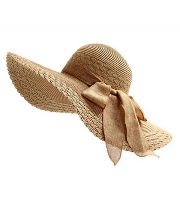 Ladies Bold Cursive Sunhat Foldable Floppy Summer Outdoor Hat Beach Cap Sun Visor with Big Bow - Coffee - CQ182H6Y3CD