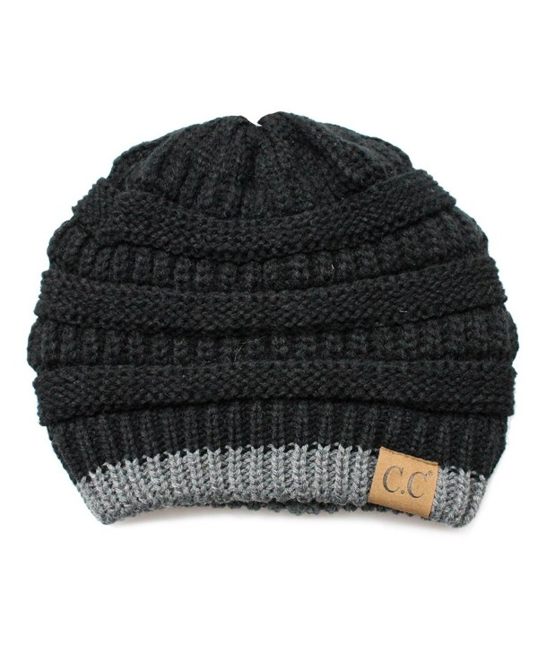 Hatsandscarf CC Cable Knit Soft Stretch Two Tone Striped Beanie Hat (HAT-57) - Black/Dk. Mel Grey - C1189NXLAU0