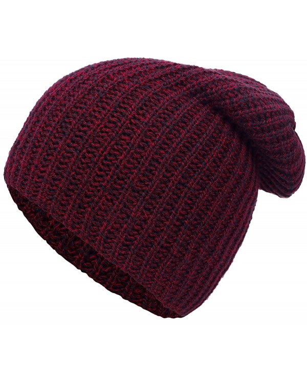 Simplicity Men / Women's Thick Stretchy Knit Slouchy Skull Cap Beanie - Burgundy 2 - CN12MA74ULD