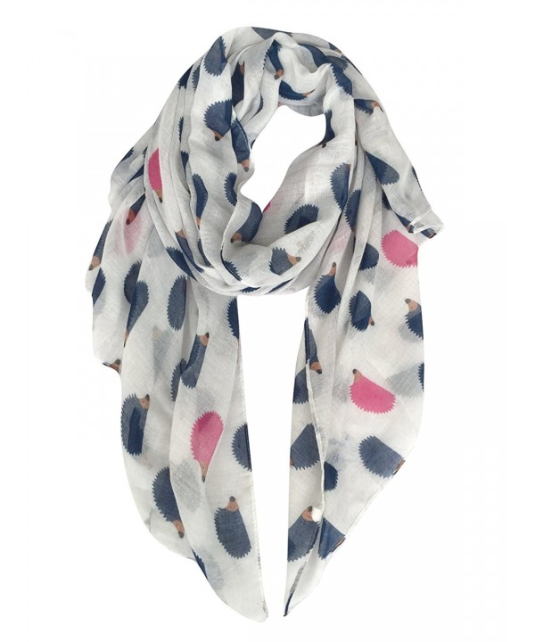 GERINLY Animal Shawl Wrap: Cute Hedgehogs Print Scarves For Women - White - CF11VNXXLXD