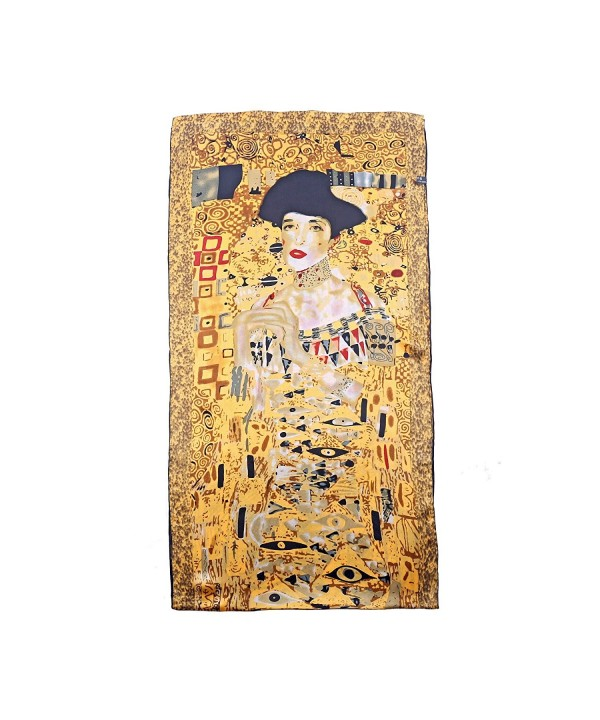 Aqueena Women's 100% luxurious 12-momme Charmeuse Satin long silk scarf oil paintings - Gustav Klimt's Ladies - C2126QFDLUP