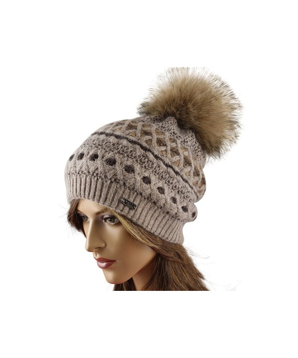 LA-EL COUTURE Womens Elegant Knitted with small brooch Beanie warm - Brown - CQ12CNXDX39