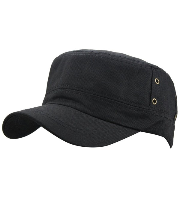 Men's Cotton Flat Top Peaked Baseball Twill Army Millitary Corps Hat Cap Visor - Black - CX12DSYC8G5