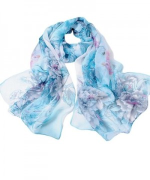 Creazy Fashion Chinese style Lady Long Wrap Women's Shawl Chiffon Scarf Scarves - Blue - CJ12FSL08GX