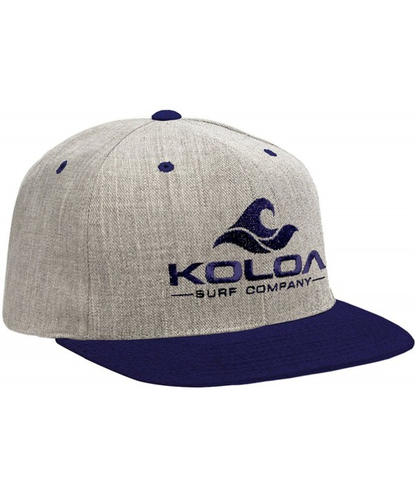 Koloa Surf Classic Snapback Hats with Embroidered Logo in 16 Colors - Heather-navy With Navy Logo - CT12E4VZPL1