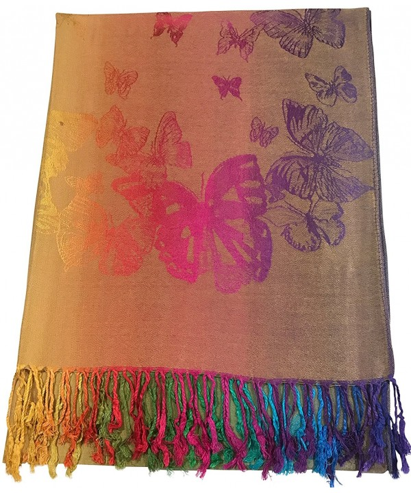 CJ Apparel Butterfly Design Shawl Pashmina Scarf Wrap Stole Throw Seconds NEW - Gold - CV12NYPJGFR