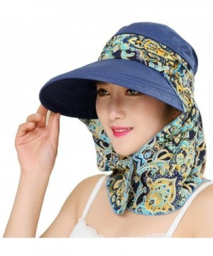 Roll Up Wide Brim Sun Visor UPF 50+ UV Protection Sun Hat with Neck Protector - Dark Blue - CB17YX8O5IS