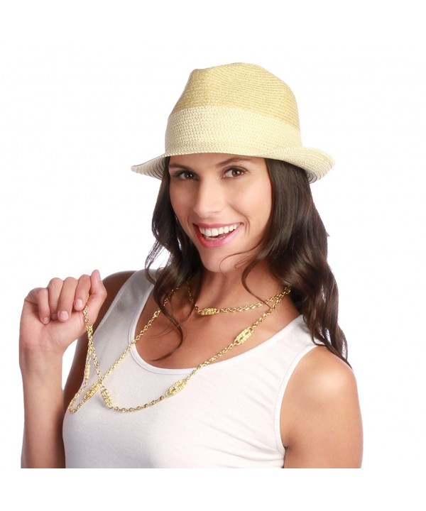 Jackie G Packable Trendy Fedora Sun Hat Natural 50upf - Gold - CE11LRS92P5