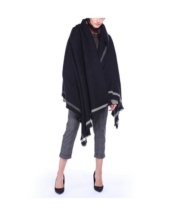 GURNALL Women's Winter Vintage Oversized Fleece Blanket Poncho Cape Shawl Coat - Black - CQ186Q09I3M