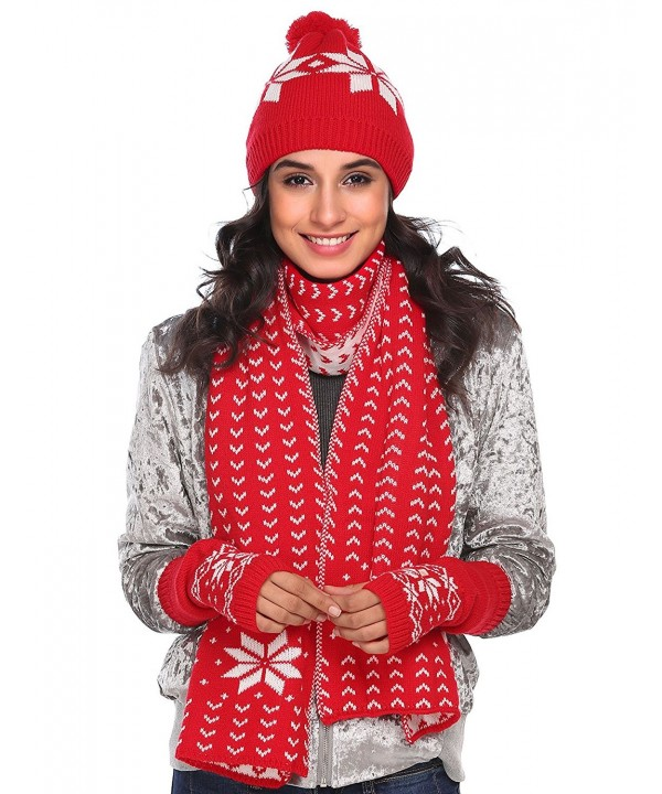 Zeagoo Women Warm Knitted Shawl Wrap Neck Stole Long Scarf Hat Gloves Set - Red - CZ186LXATAU