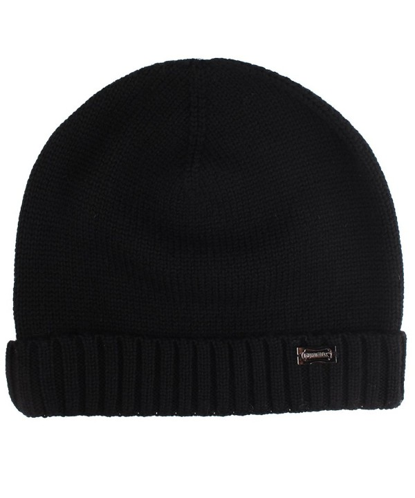 Knit Winter Hat For Men- Mens Cashmere And Wool Beanie Hats Skull Caps FURTALK Original - A-black - C81867G5T7U