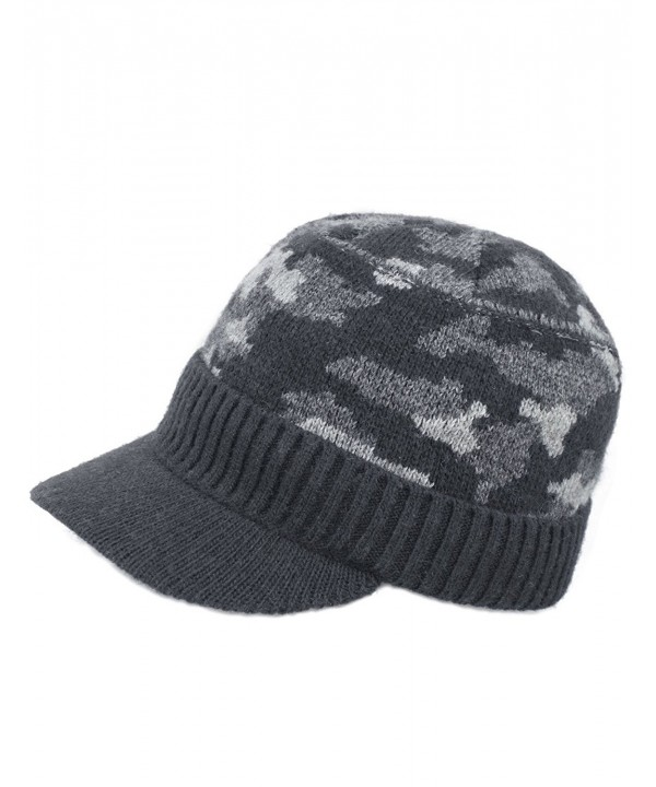 Dahlia Men's Soft & Warm Velour Lined Solid Color Visor Cap Hat - Camo Gray - CB186OSQSO3