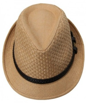 Jimall Men Women Short Brim Jazz Hat Straw Cap Sun Protection Hats Brown - C312HIGIIE5