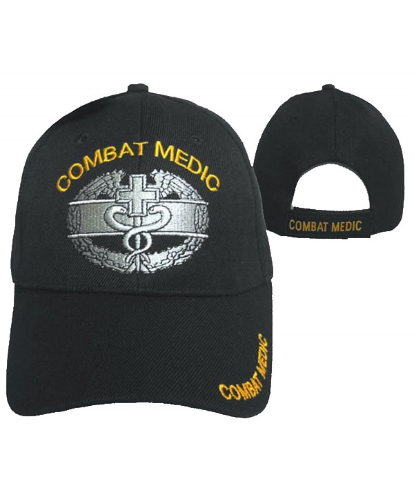 Combat Medic Cap Black U.S. Army Embroidered Military Hat - C012ODQFY09