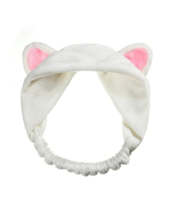 ink2055 Women Gils Cute Cat Ears Elastic Face Wash Headband Headdress - White - CA1857DDREX