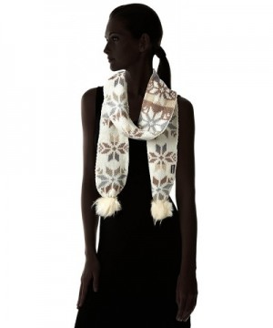 Luks Womens Snowflake Scarf Ivory in Fashion Scarves