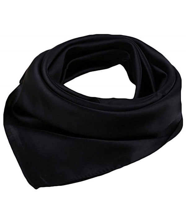 "Women Satin Square Scarf Wrap Silk Feel Solid Color Hair Scarf Accessory 23"" - Black - C4186L75HKM"