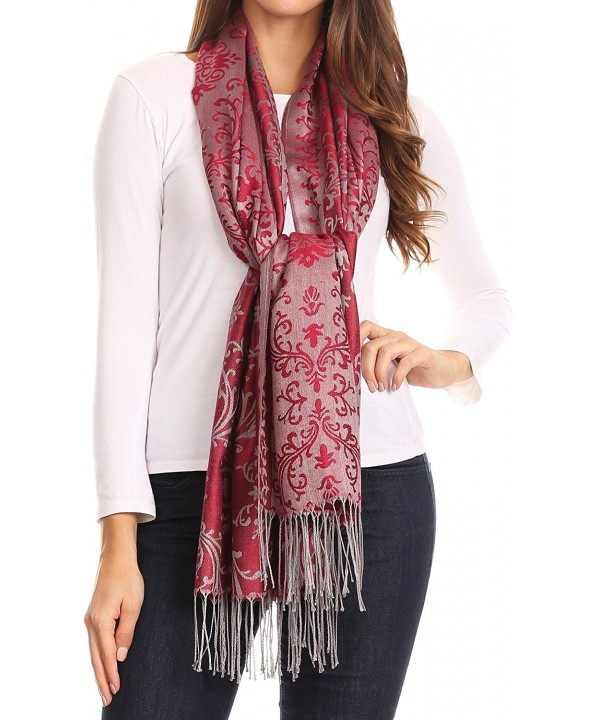 Sakkas Luna Reversible Tile Brocade Scarf Shawl Wrap Stole Soft and Warm - Burgundy - CW186K3MIRE