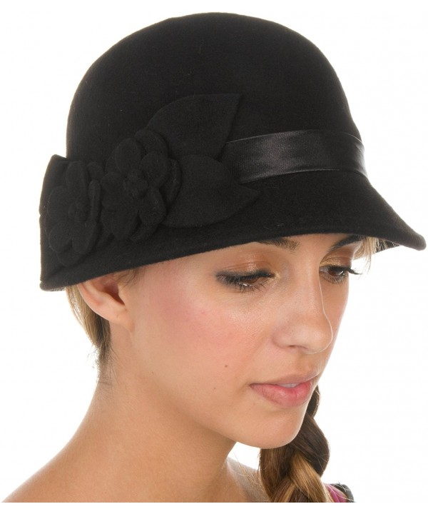 Sakkas Vivian Vintage Style 100% Wool Cloche Bell Hat with Flower Accent - Black - CO110ZML5CR