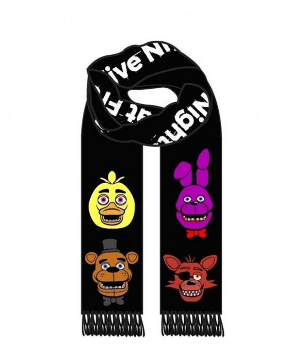 Deluxe Five Nights at Freddy's Black Knitted Winter Scarf Chica Bonnie Foxy - CN12LWA0ZJD