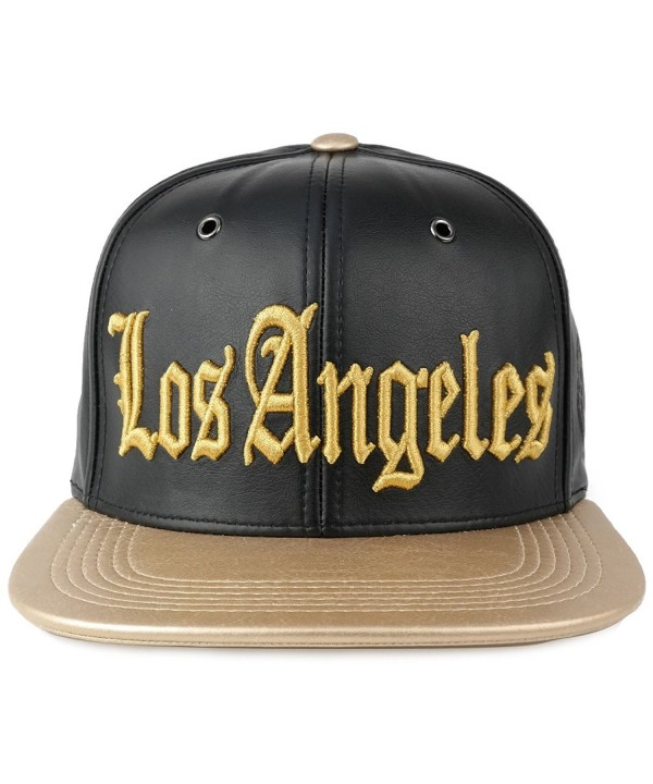 Trendy Apparel Shop Los Angeles 3D Embroidered PU Leather Style Flatbill Snapback Cap - Black/Gold - CR12O37O2EM
