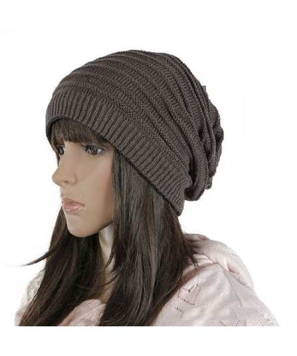 HindaWi Winter Reversible Beanie Infinity Scarf Slouchy Hat Knit Ski Skull Cap For Women Men - Dark Grey - CN1872T35HY