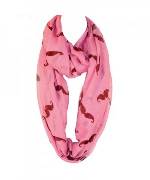 Hipster Handlebar Mustache Infinity Fuchsia in Fashion Scarves