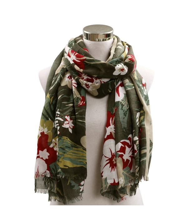 Odema Womens Scarf Stylish Scarves Shawl Wraps Multicolor Flower Blanket Scarf - Army Green - CZ185QRO4ZH