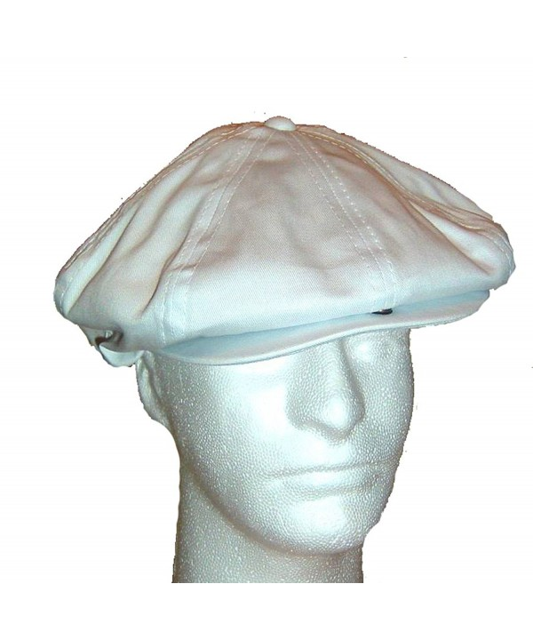 Dorfman Pacific 2K Newsboy Cap 8/4 Cotton Blend Gatsby - White - CM11ZP1GBO5