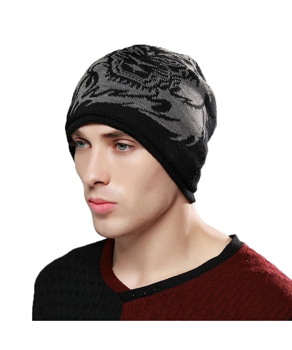 Headshion Men's Slouchy Beanie Hat With Fleece Lined Winter Warm Tiger Knit Ski Skull Cap - Black - C5188QUQCM2