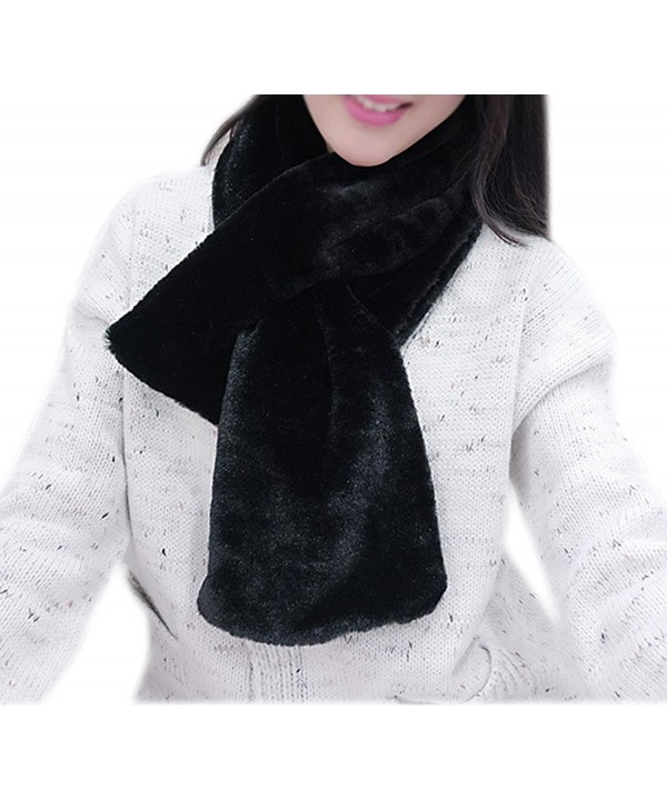 IvyFlair Women's Winter Warm Solid Color Soft Faux Fur Scarf - Black - CB12NUTFMDX