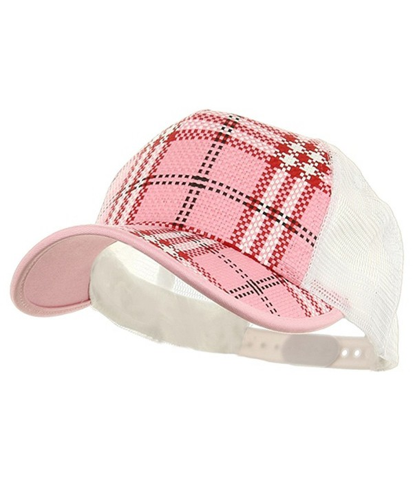 Plaid Straw Trucker Caps - Pink - C6111GHZZ7V