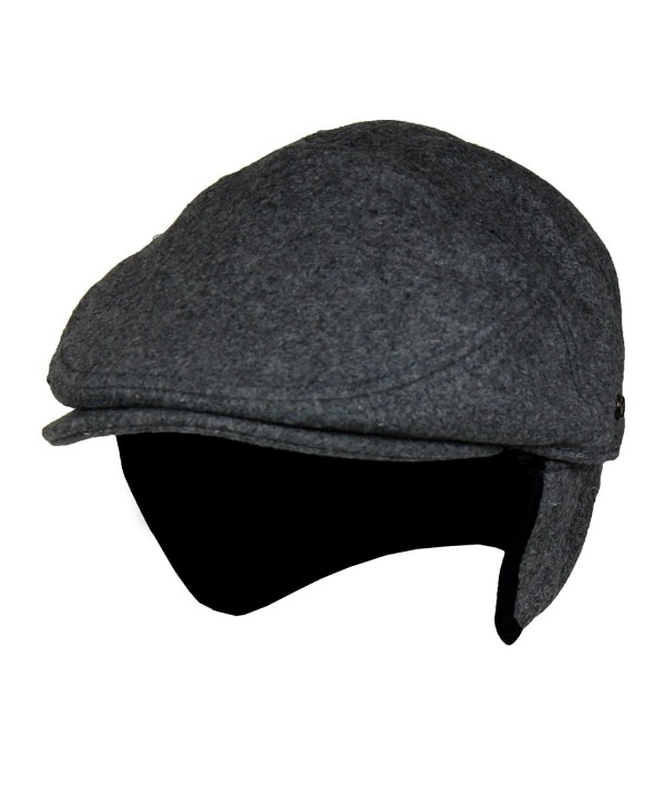 Folie Co. Charcoal Grey Wool Winter Ivy Cabbie Hat w/Fleece Earflaps - Driving Hat - CD188HHWGT2