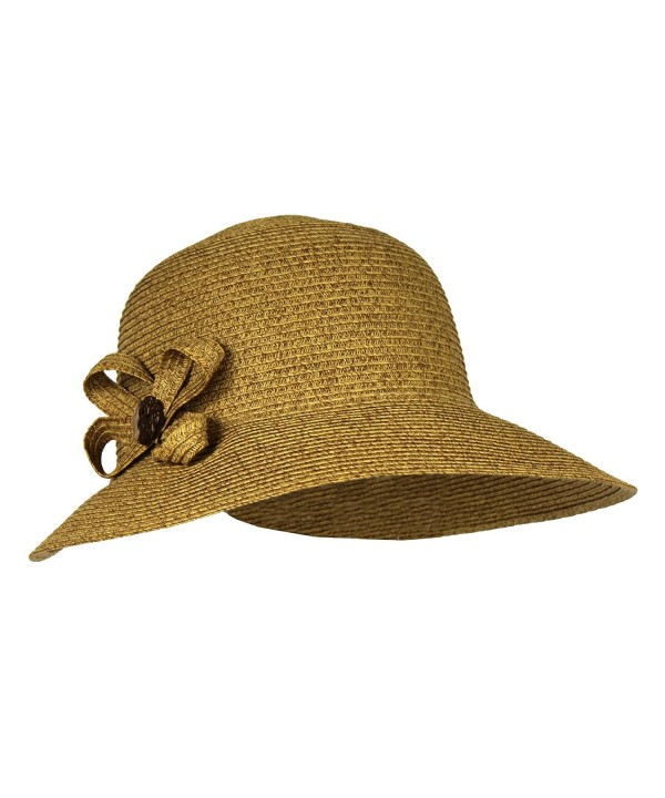 SPF 50+ Packable Straw Cloche Sun Hat w/ Flower - UV Blocking Summer Bucket Cap - Natural - CO182HN8ED6