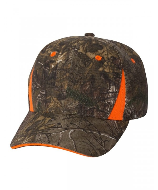 Joe's USA - Realtree and Mossy Oak Camouflage Camo Caps With Blaze Trim - Realtree Xtra/ Blaze - C211XVPI32Z