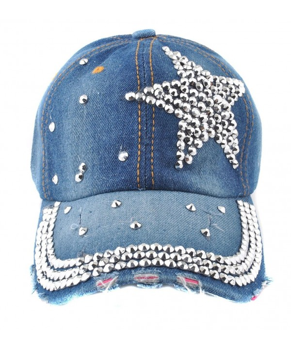 Elonmo Cute Silver Big Star Womens Baseball Cap Jewel Rhinestone Bling Hats Jeans Wash Denim - Blue - CJ11YMO2JBZ