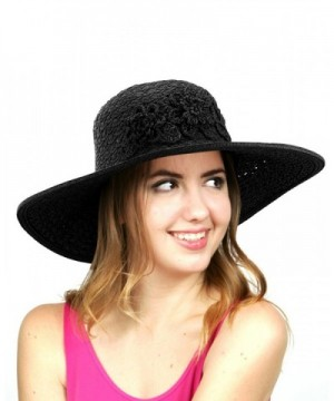 NYFASHION101 Women's Interweaved Crushable Floral Accent Adjustable Sun Hat - Black - CE11AQYI1F7