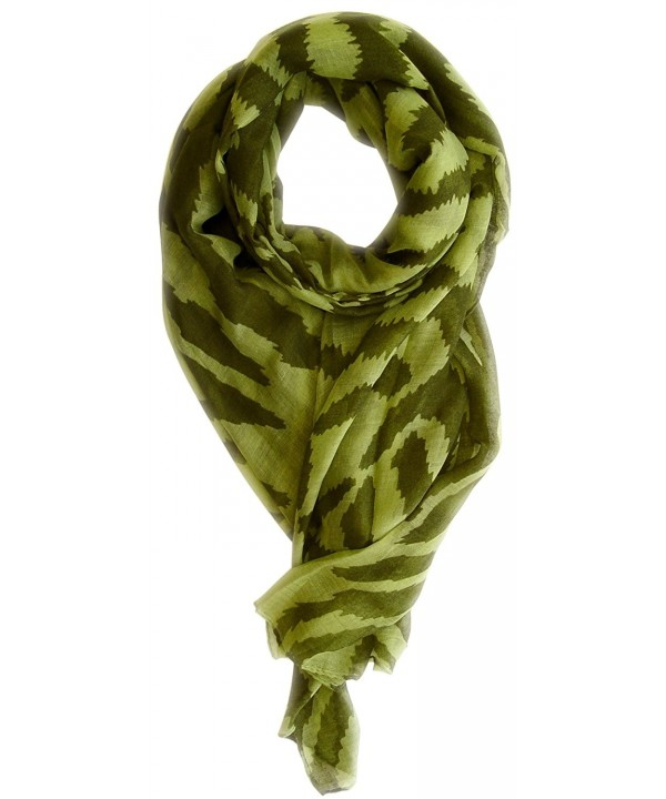 Peach Couture Zebra Print Trendy Animal Print Fashion Graphic Shawl Wrap Scarf - Green Forest Green - CP11L1OEKRZ