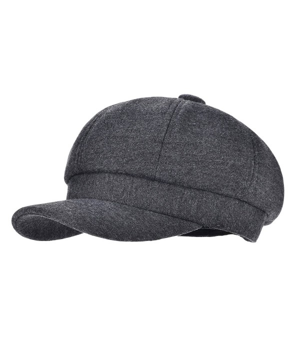 VOBOOM 8 Panel Wool Tweed newsboy Gatsby IVY Cap Golf Cabbie Driving Hat Herringbone - 311-dark Grey - CE18034LYGW