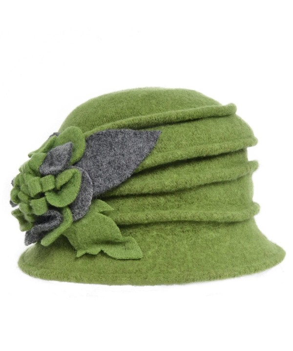 VECRY Women's Wool Dress Church Cloche Hat Bucket Winter Floral Hat - Green - CY12L3NZWHZ