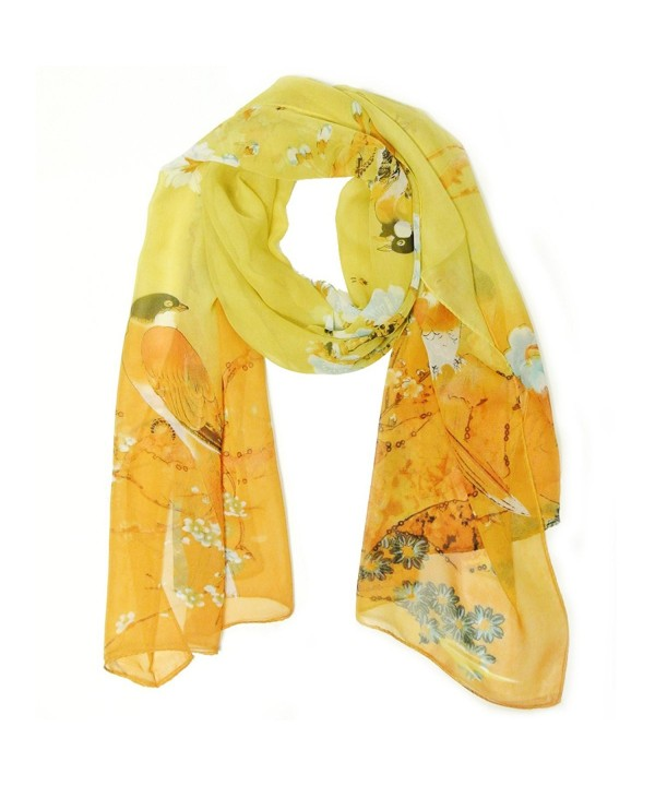 Allydrew Floral Bird Print Polyester and Silk Oblong Scarf- Sunglow - CY11M4KUM4Z