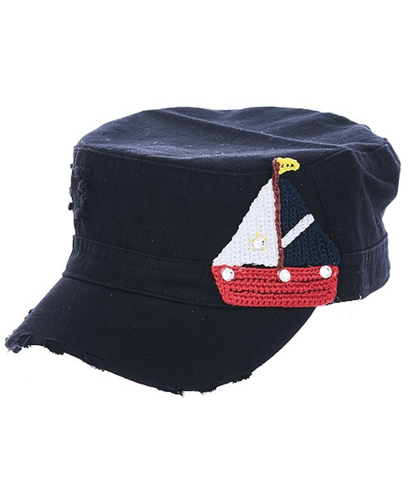 TD Collections Women's Knit Sailboat Patch Military Summer Cap - Black - CR12FQXGQLJ
