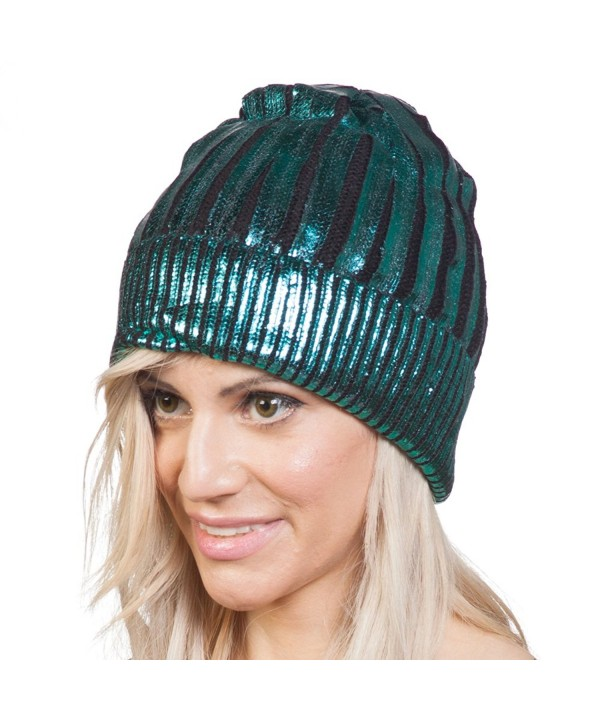 Shiny Metallice Cuffed Beanie - Turquoise - CA12BLYWYPT