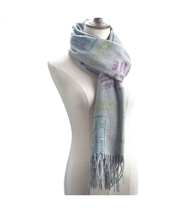 "Women Large Soft Pashmina Shawls Wraps Scarf Long Cover Up Scarves 75""x26"" - Gray - CS189HK8YUC"