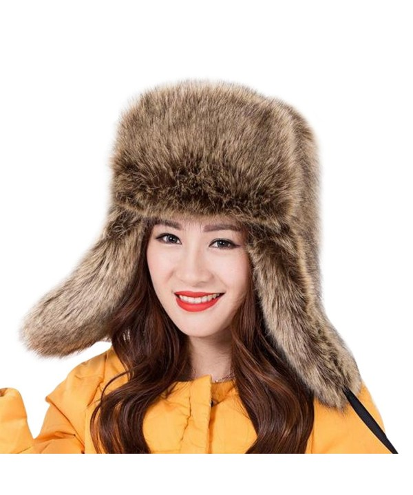 "Dikoaina Faux Fur Snow Trapper Hat with Ear Flap for Skiing Head Circumference 22""-22.8"" - Raccoon - CI12O8JKD0A"
